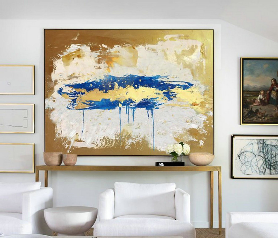 Large Gold Abstract Painting Beige Painting Blue Paingting,Large Abstract Painting,Original Oversize Painting,Living Room Wall Art