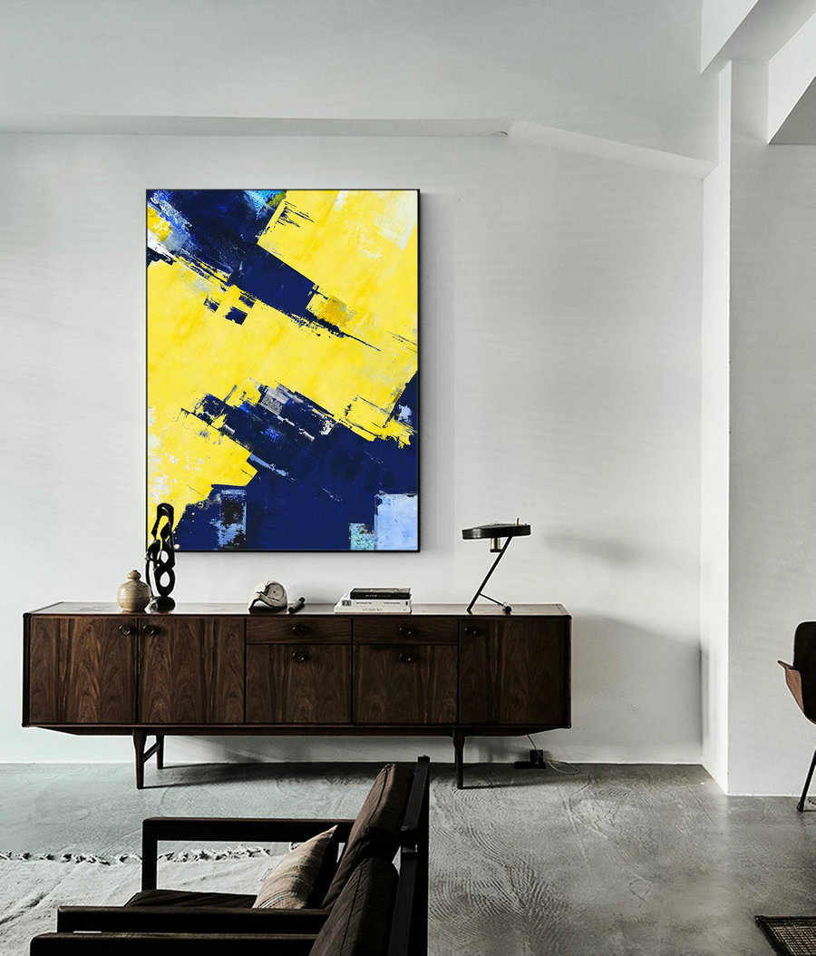 Original Super Texture Palette Abstract Oil Painting On Canvas,Abstract Canvas Wall Art Painting,Blue Abstract Painting,Yellow Oil Painting