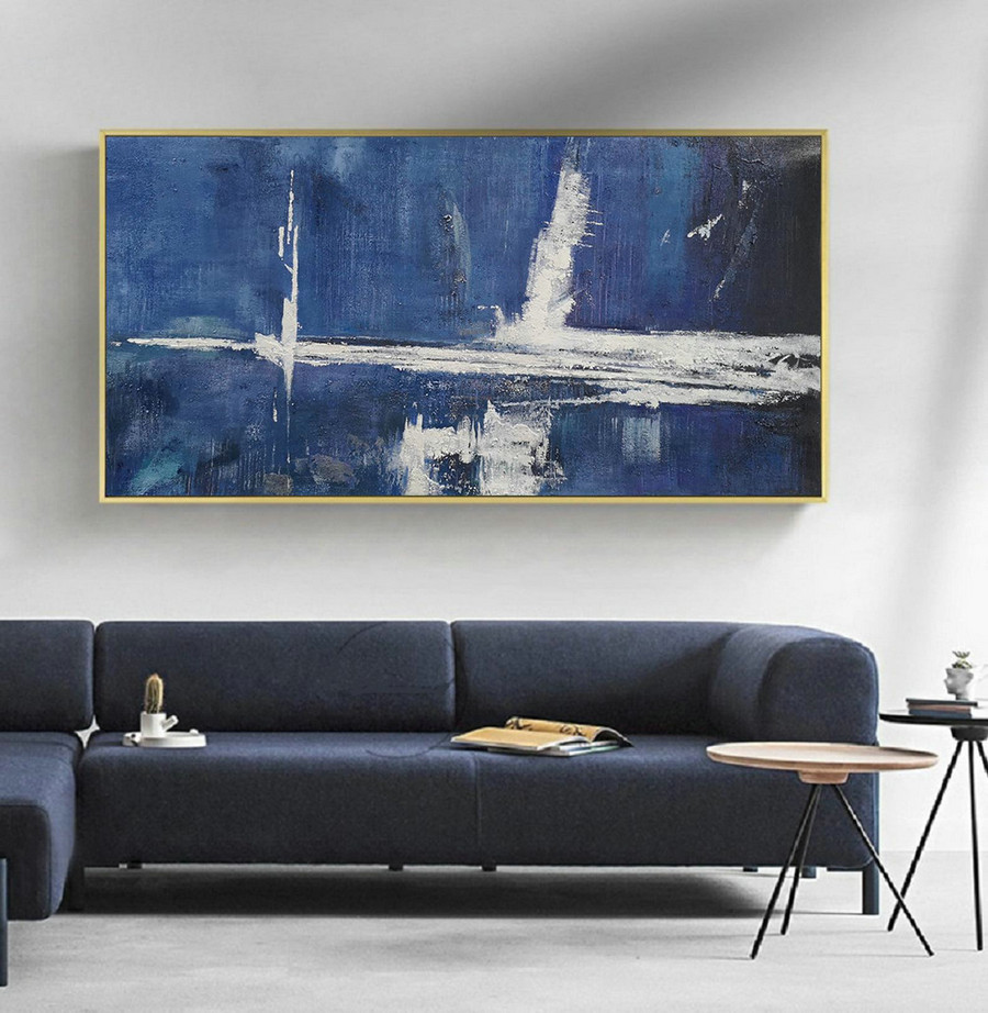 Large Blue Abstract Painting,White Abstract Art,Abstract Painting on Canvas,Original Abstract Art Painting,Large Wall Canvas Oil Painting