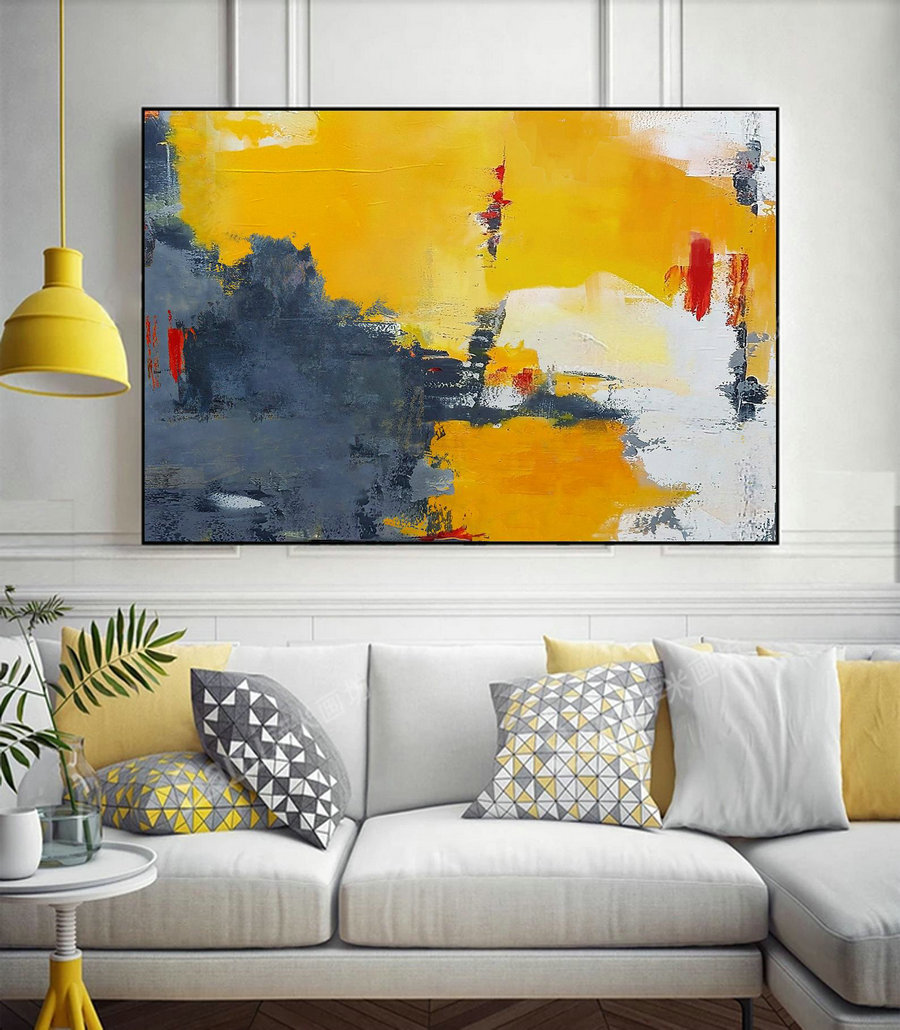 Yellow Abstract Painting,Gray Abstract Art,White Abstract Painting,Large Wall Art Canvas Painting,Yellow Painting On Canvas,Living Room Art