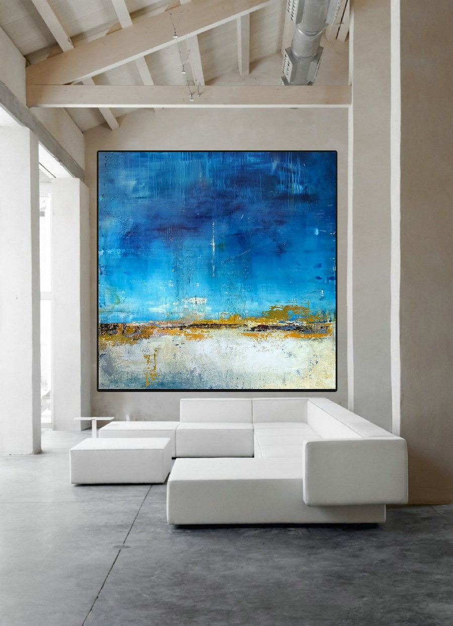 Original Blue Sky Abstract Painting,Sea Level Abstract Oil Painting,Abstract Art,Large Wall White Abstract Art Painting,Sea Oil Painting