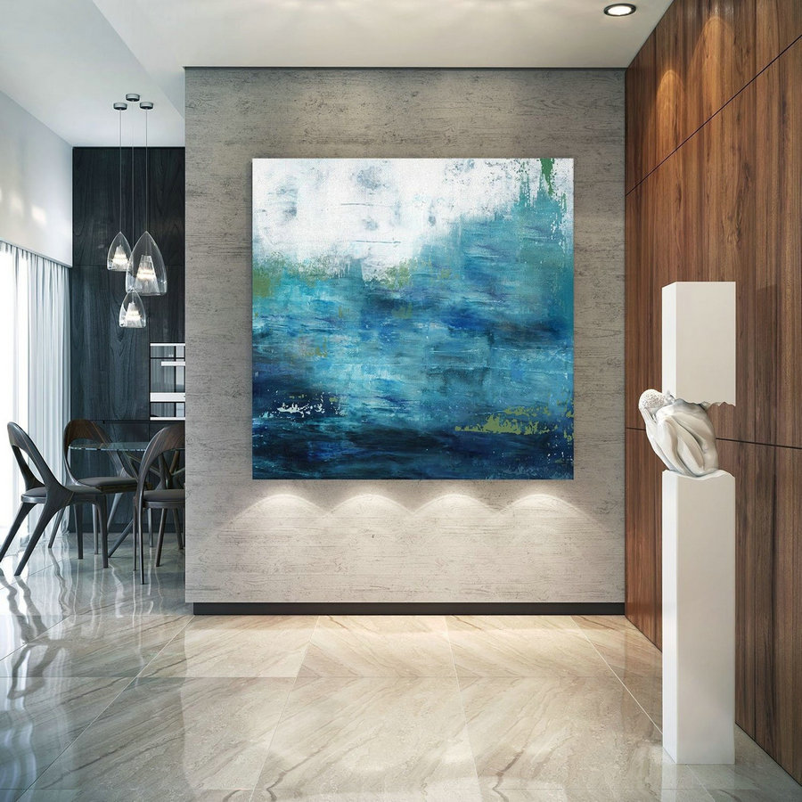 Large Ocean Canvas Oil Painting,Original Blue Sea Abstract Oil Painting,Large Wall Seascape Oil Painting,Sea Landscape Abstract Oil Painting