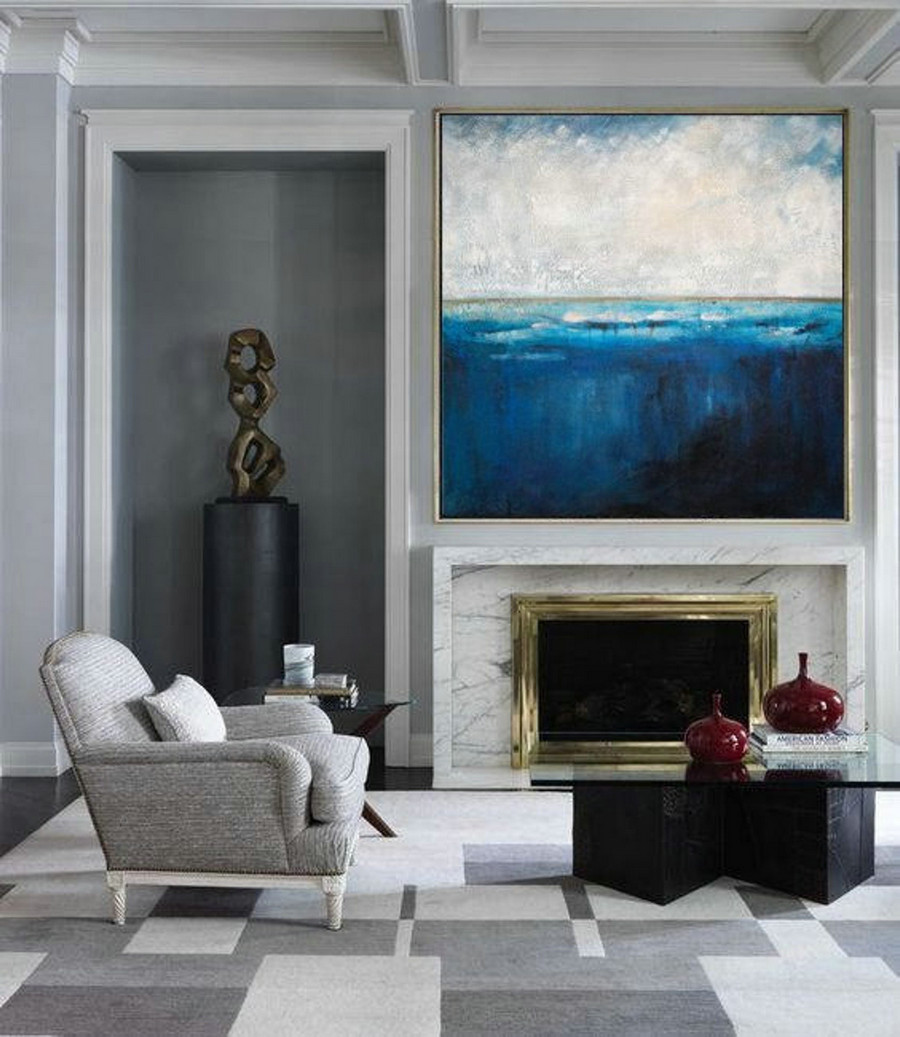 Original Large Deep Blue Sea Level Painting,Ocean Canvas Painting,Large Abstract Art,Wall Art Painting,Blue Ocean Painting,Living Room Art