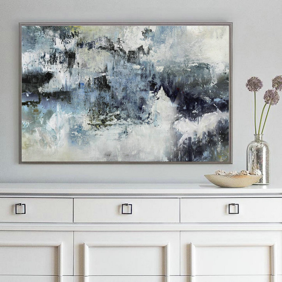 Large Wall Abstract Art Canvas Painting,Nature Abstract Painting,Large Abstract Painting,White Abstract Painting,Sofa background Wall Art