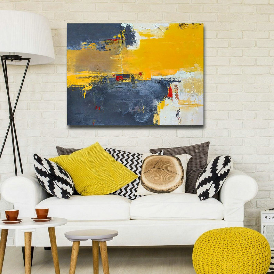Abstract Painting Canvas,Large Yellow Abstract Painting,Beige Blue Abstract On Canvas Painting,Dark Blue Abstract Painting,Large Wall Art