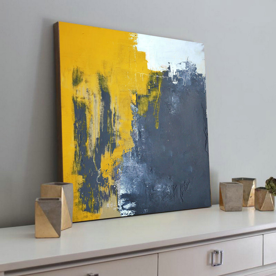 Very Large Abstract Paintings On Canvas,Yellow Abstract Canvas Art Oil Painting,Blue Abstract Art Painting,Modern Living Room Abstract Art