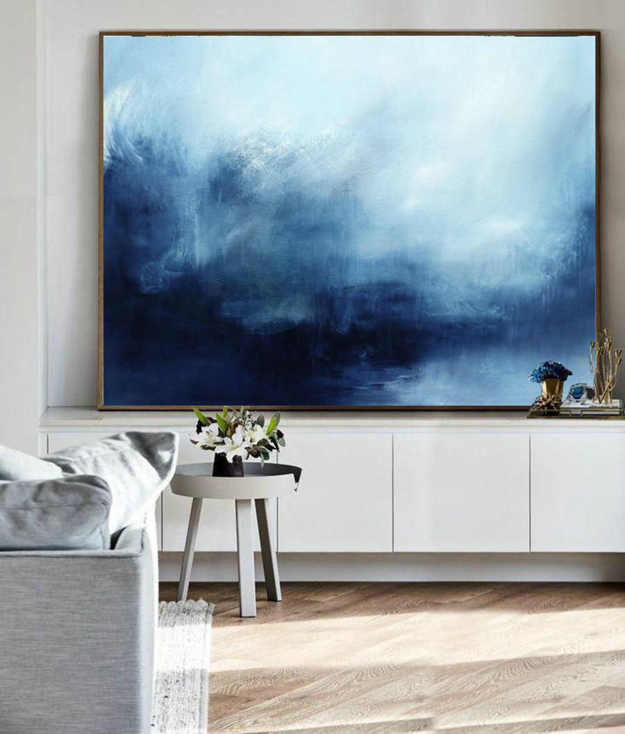 Abstract Landscape Painting, Sky And Sea Painting, Original Sky Abstract Painting, Deep Blue Sea Landscape Painting, Large Wall Sea Painting