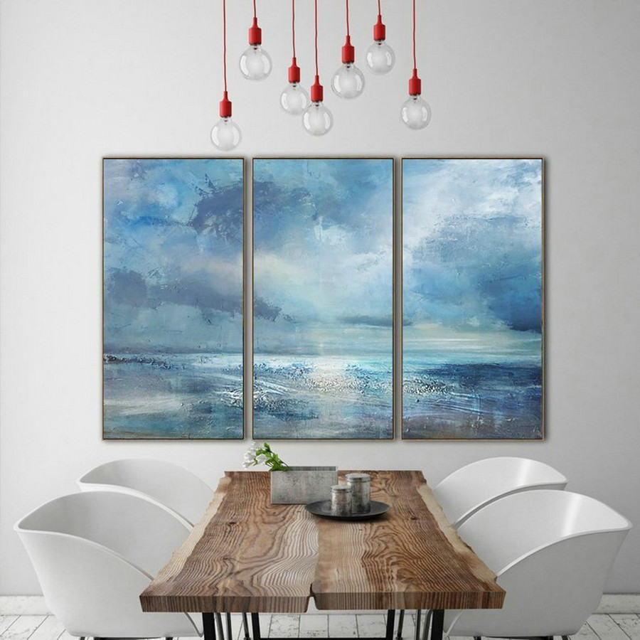Marine Landscape Oil Painting,Large Wall Canvas Painting,Large Cloud Abstract Art Painting On Canvas,Large Wall Art Sea View Oil Painting