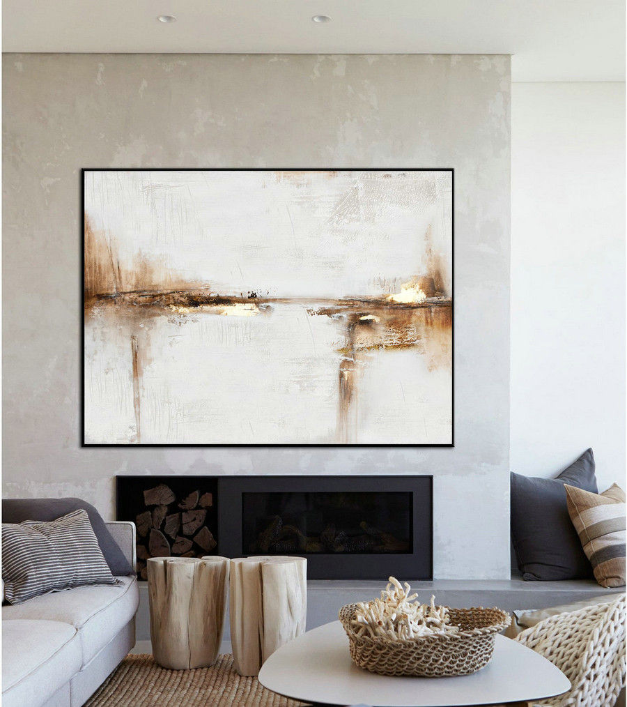 Original Abstract Canvas Wall Art Office Decor,Beige Painting Gold Painting,Large Abstract Art Painting On Canvas,Ocean Landscape Painting