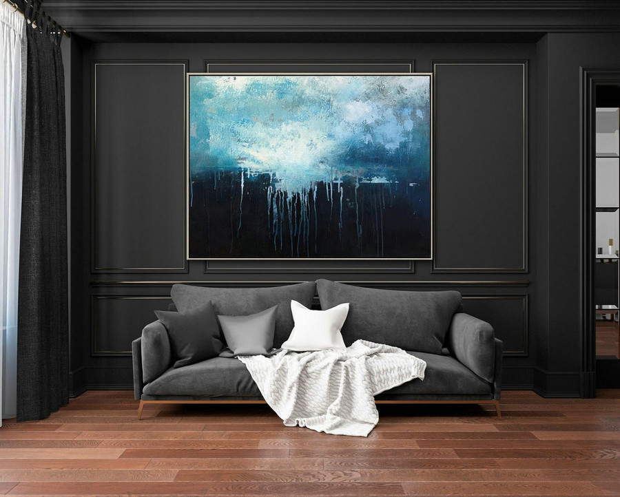 Large Dark Blue Abstract Art Sky Landscape Oil Painting,Black Abstract Oil Painting,Abstract Art Oil Painting,Large Wall Blue Oil Painting