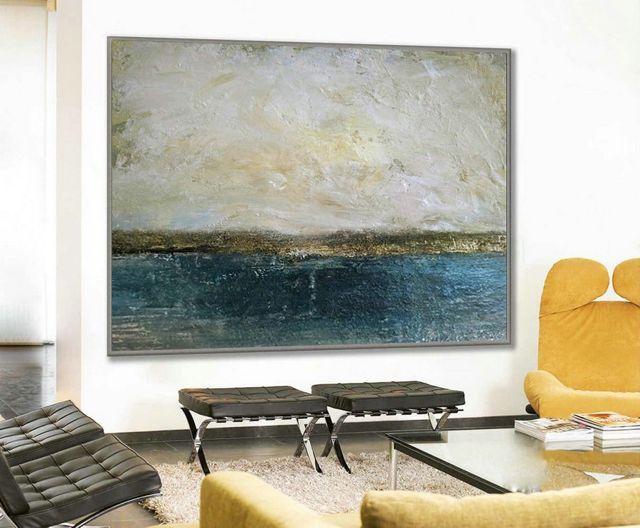 Large Abstract Art Sky Painting, Original Abstract Canvas Wall Art, Beige Painting Gold Painting,Ocean Landscape Painting, Office Decor