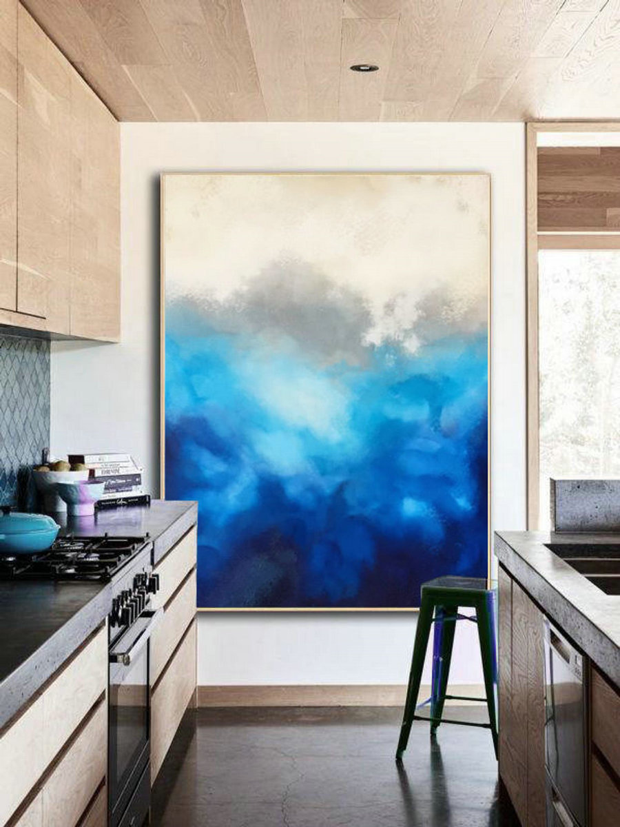 Large Cloud abstract painting,Original Blue Painting Abstract,Large Wall Canvas Painting,Abstract Sky Painting,Abstract Art,Living Room Art