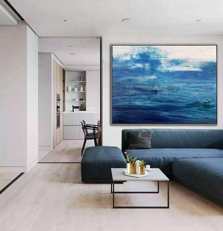 Original Blue Sea Canvas Painting,Dark Blue Ocean Painting,Blue Wave Painting,Large Abstract Art Painting On Canvas,Ocean Landscape Painting