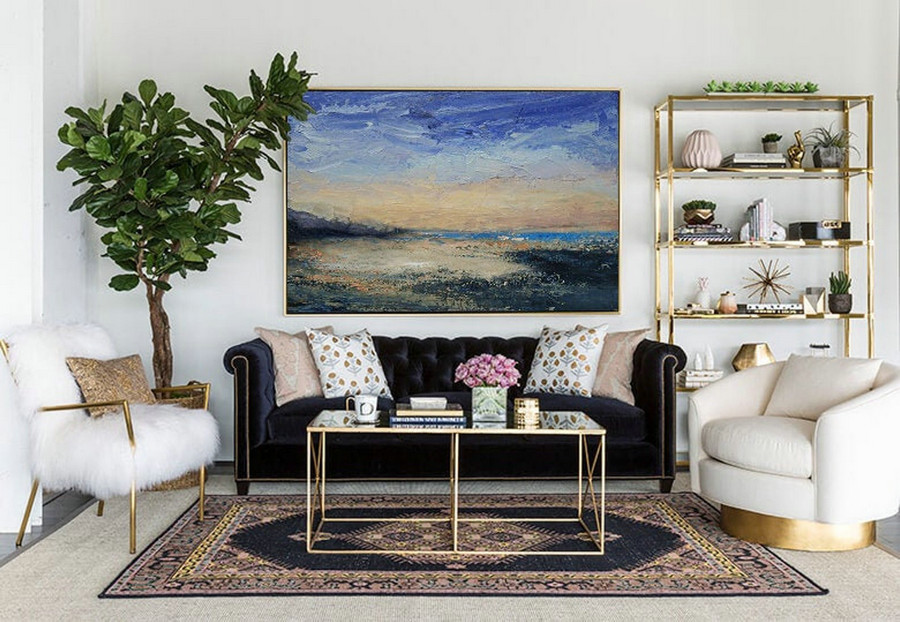 Large Wall Canvas Oil Painting,Original Abstract Art Painting,Large Abstract Sky Painting,Large Ocean Beach Oil Painting,Large Abstract Art