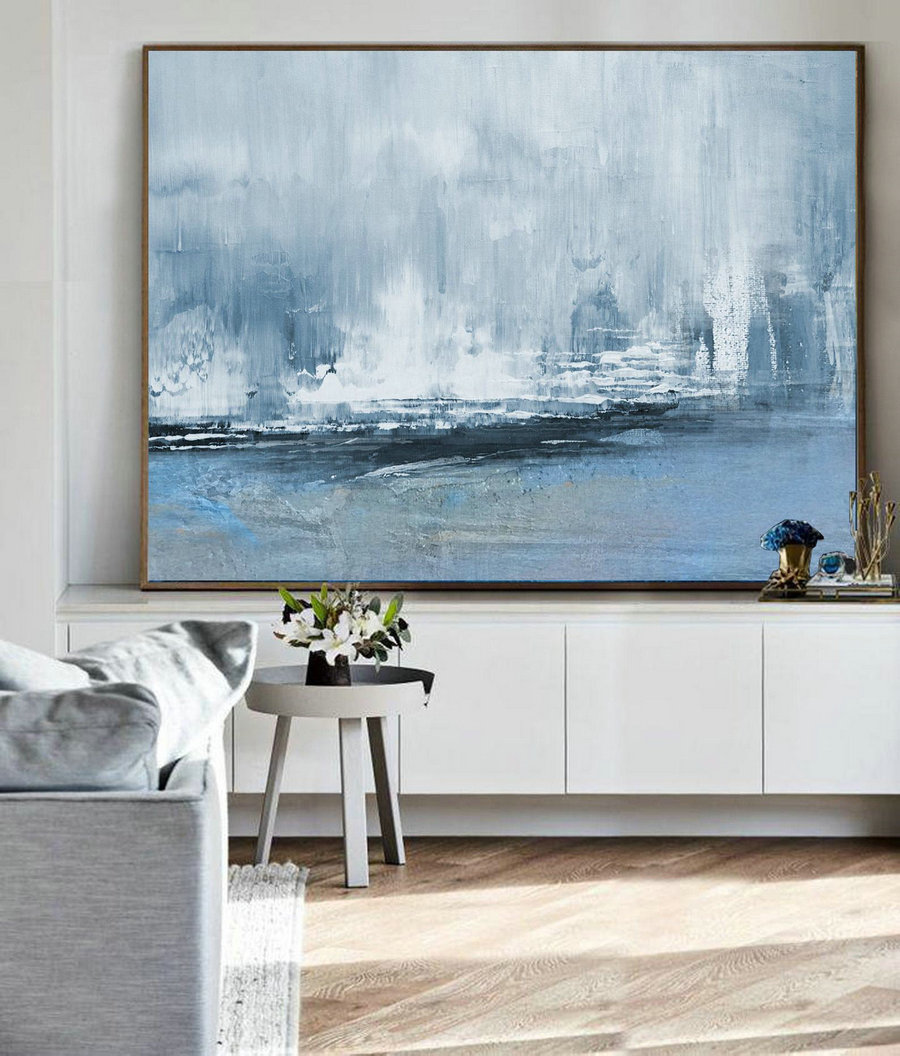 Nature Abstract Painting,Large Wall Canvas Painting,Sea Abstract Painting, Original Sky Abstract Painting,Large Abstract Art,Living Room Art