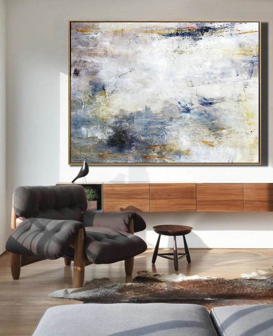 Large White Cloud Abstract Painting,Abstract Art Oil Painting,Original Sky Abstract Oil Painting On Canvas,Large Canvas Art,Living Room Art