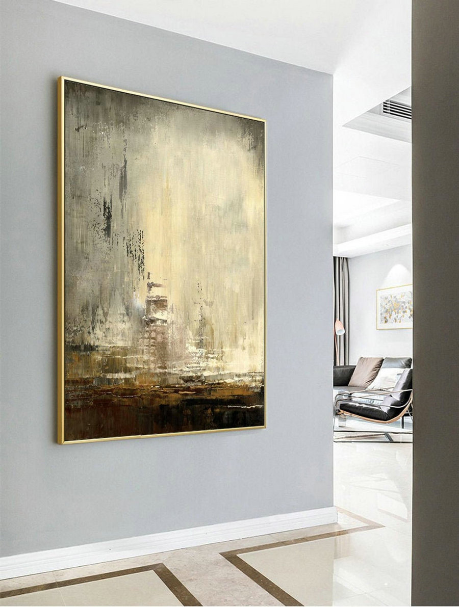 Minimalist Style Abstract Painting,An Abstract Painting Of The City That Disappeared,Large Wall Abstract Canvas Oil Painting,Living Room Art