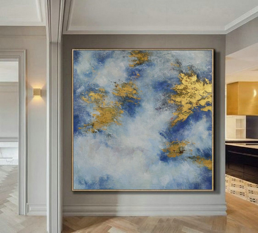 Original Abstract Canvas Wall Art Office Decor, Cloud Abstract Painting, Large White Gold Abstract Art Oil Painting On Canvas, Gold Painting