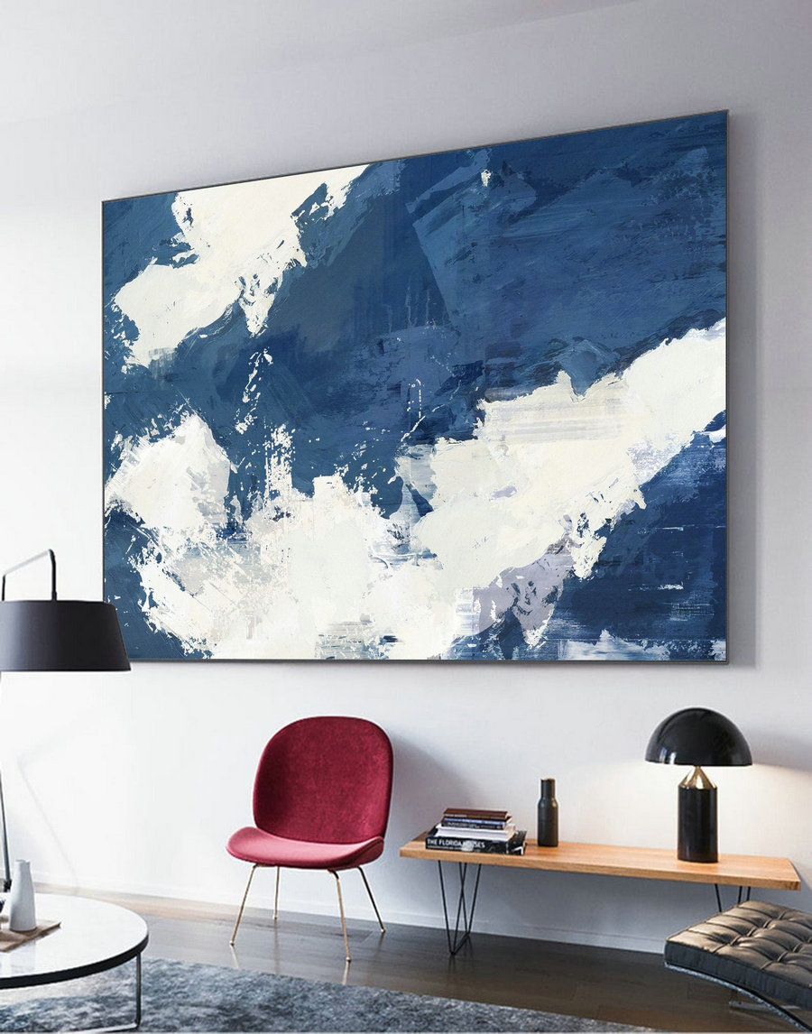 Original Blue Abstract Painting, White Abstract Painting, White Cloud Painting, Abstract Art Painting, Large Abstract Painting On Canvas