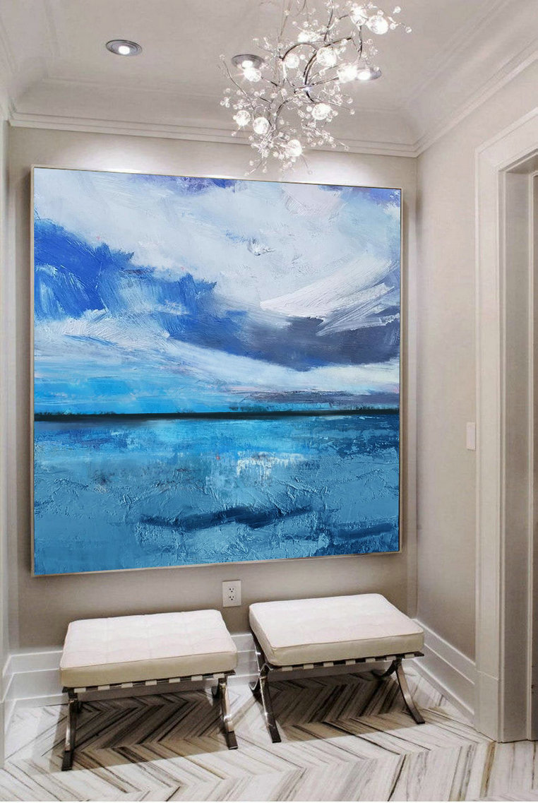 Large Original Sea Level Blue Oil Painting,Large Wall Art Light Blue Sky Oil Painting,Sky Landscape painting,Large Ocean Canvas Oil Painting