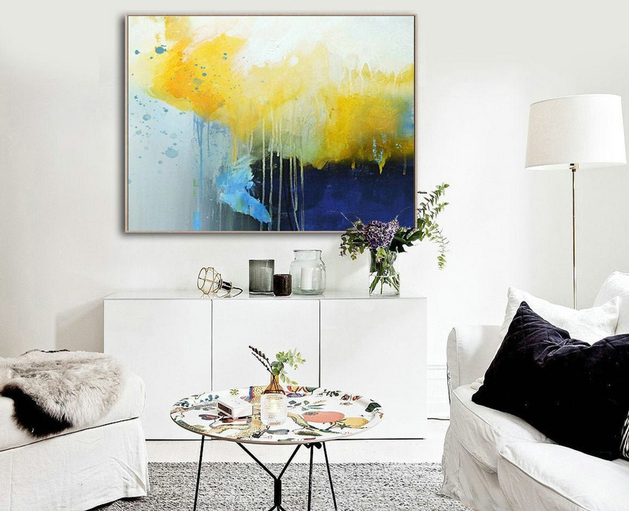 Deep Blue Abstract Canvas Painting, Large Yellow Painting,Minimalist Abstract Painting,Dining Room Art Painting,Canvas Abstract Oil Painting