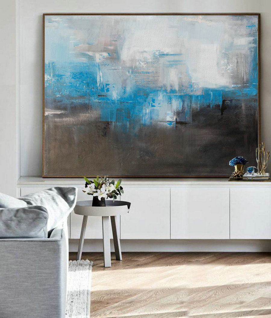 Large Oil Painting, Blue Abstract Painting, Gray Painting, Black White Abstract Painting, Original Canvas Painting,Contemporary Art Abstract