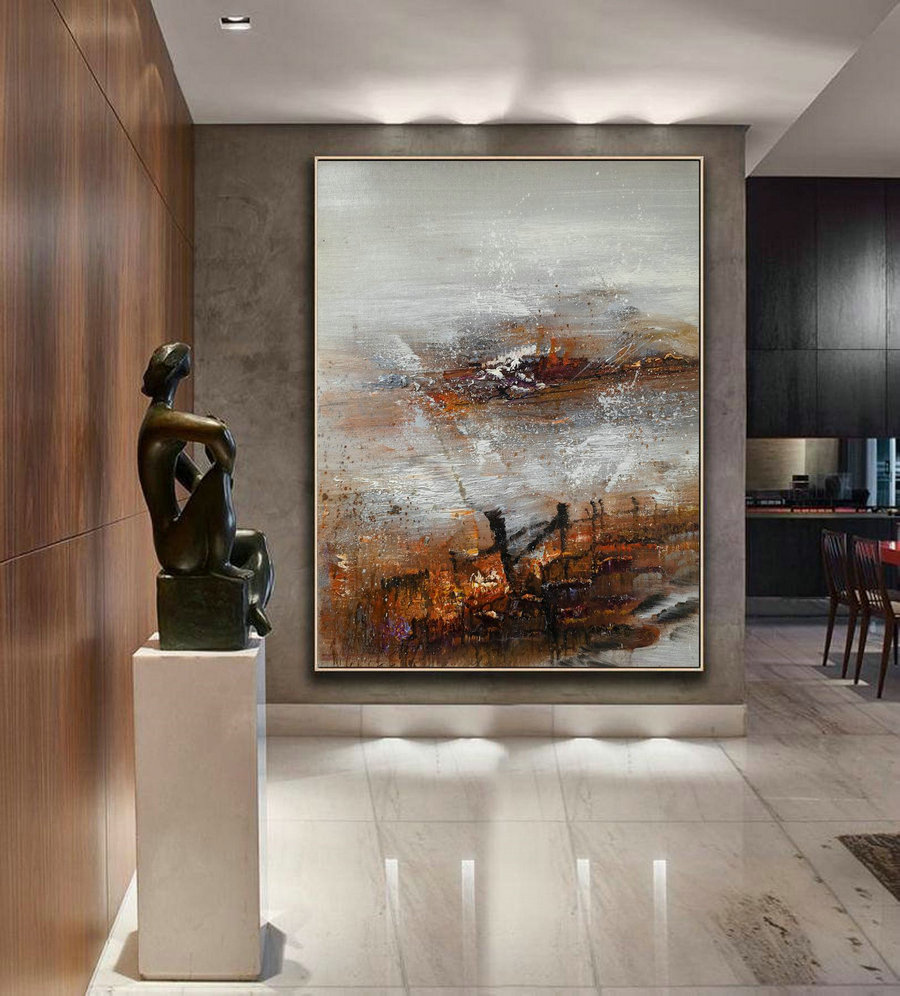 Large Abstract Art, Original Abstract Painting, Large Gray Whtie Abstract Painting, Nature Abstract Painting, Large Wall Canvas Painting