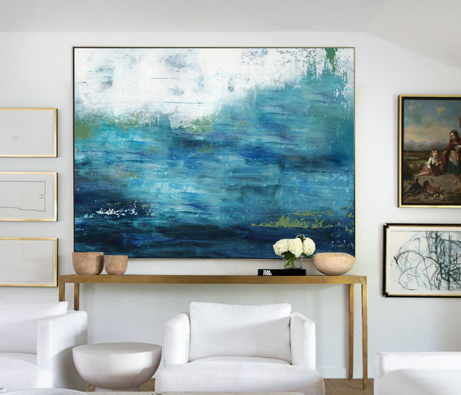 Large Ocean Canvas Oil Painting, Large Wall Sea Painting, Original Turquoise Sea And Blue Sky Landscape Painting, Sky Landscape Oil Painting