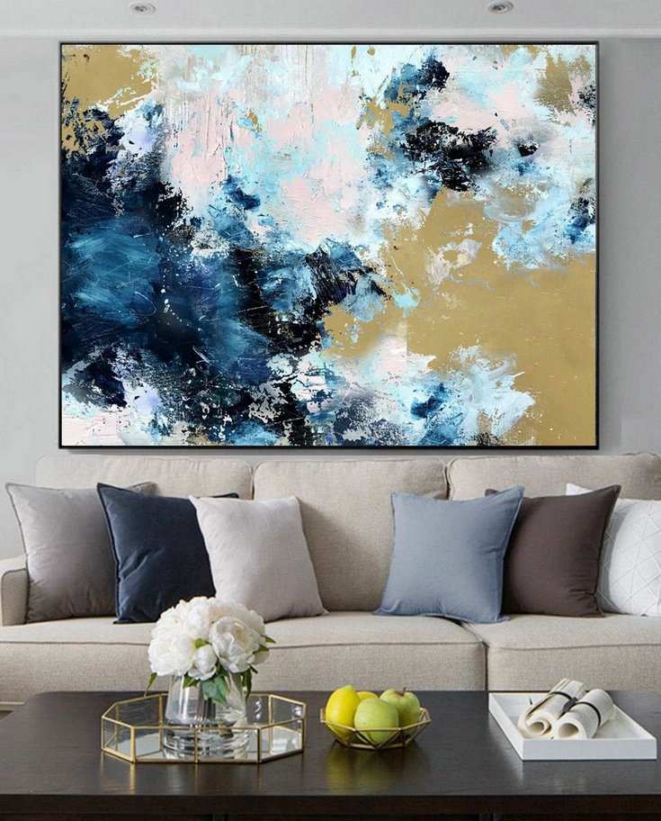 Large Cloud Abstract Art Painting,Large Abstract Painting,Sky Abstract Oil Painting on Canvas,Blue Abstract Art Canvas Painting