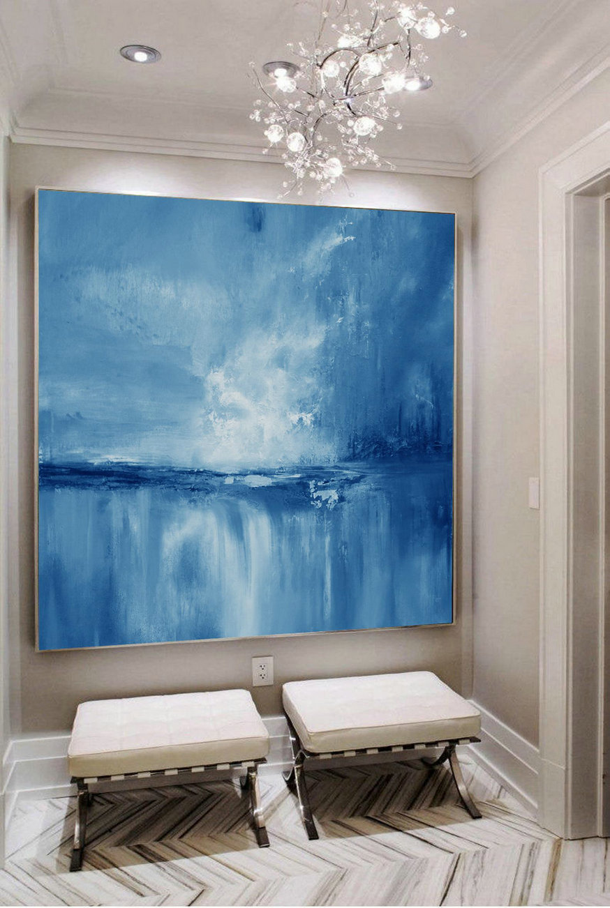 Large Wall Art Light Blue Sky Oil Painting,Large Original Sea Level Blue Oil Painting,Sky Landscape painting,Large Ocean Canvas Oil Painting