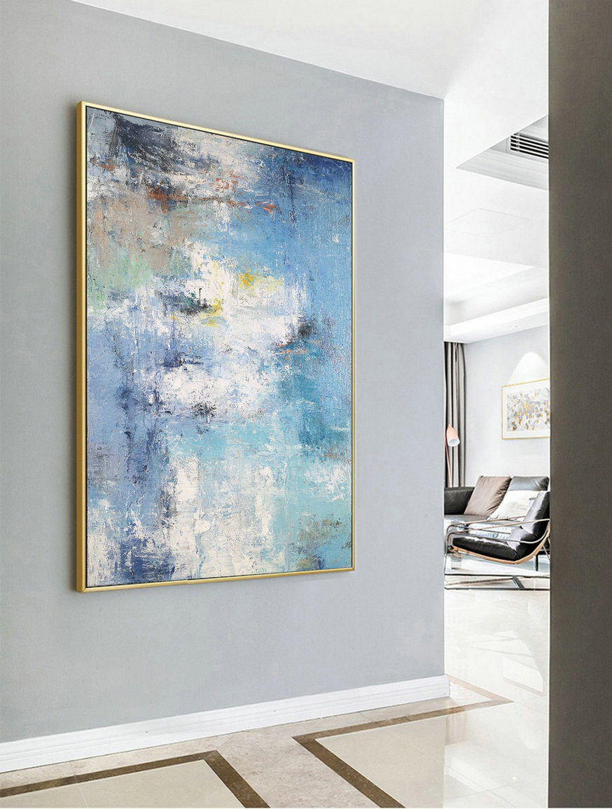 Large Texture Abstract Painting, Abstract Painting, Blue White Abstract Art, Acrylic Abstract Paintings On Canvas, Large Living Room Art
