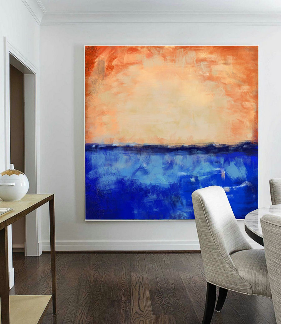 Large Deep Blue Abstract Canvas Painting,Large Abstract Art,Orange Abstract Painting on Canvas,Sky Abstract Art Wall Canvas Oil Painting