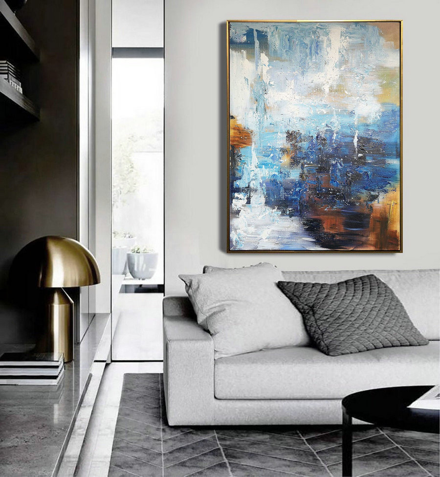 Abstract Painting,Super Large Texture Abstract Painting,Blue White Abstract Art,Acrylic Abstract Paintings On Canvas,Large Abstract Painting