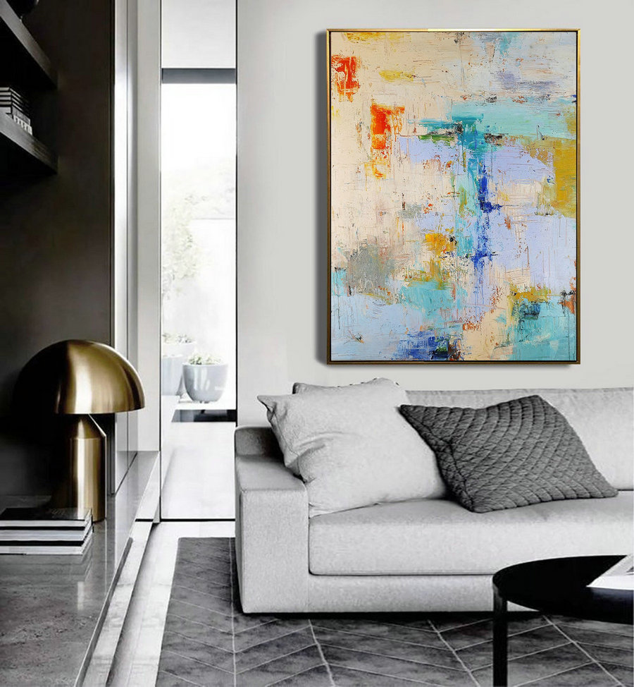 Large Texture Abstract Painting,Acrylic Abstract Painting,Blue Grey Abstract Art Painitng,Large Living Room Art Abstract Paintings On Canvas