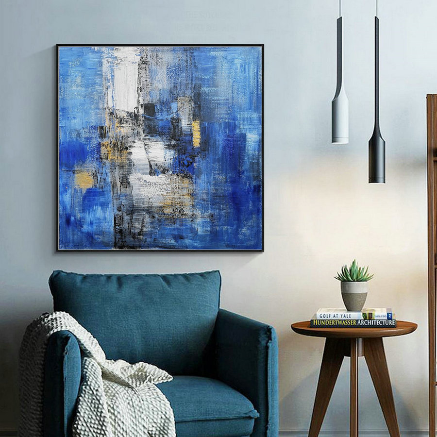 Large Blue Abstract Canvas Painting,Minimalist Abstract Painting,White Abstract Painting,Canvas Abstract Painting,Dining Room Art Painting