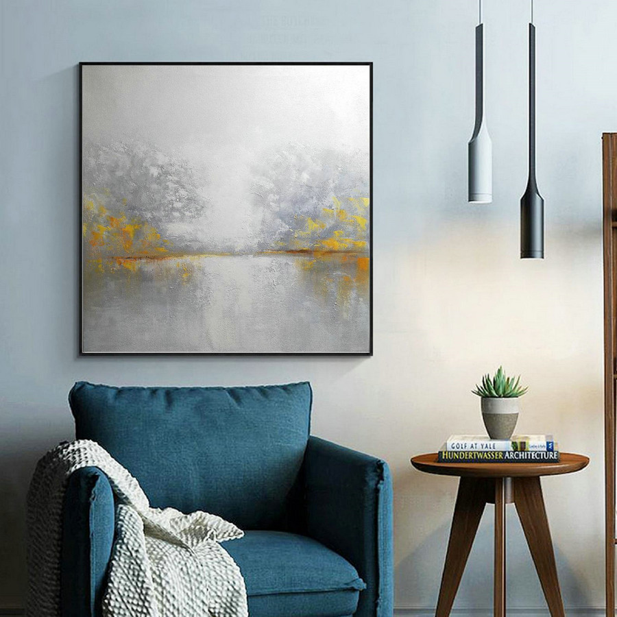 White Sky Abstract Painting,Abstract Sky Painting,Sea Abstract Painting,Large Wall Seascape Art Painting,Yellow Painting Abstract Artwork