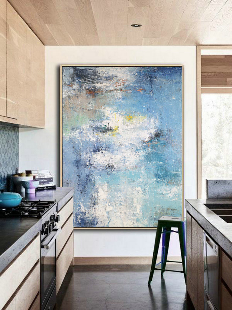Acrylic Abstract Paintings On Canvas, Large Texture Abstract Painting, Abstract Painting, Blue White Abstract Art, Large Living Room Art