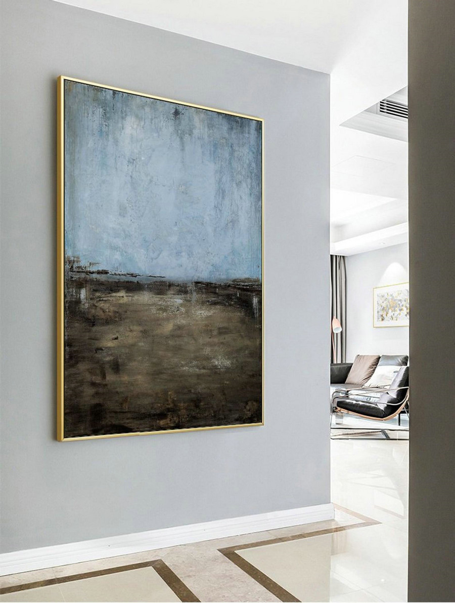 Large Canvas Painting Oversize Painting Blue Painting Gray Painting Landscape Painting Sky Oil Painting Ocean Painting Oil Abstract Painting
