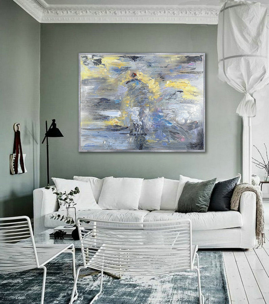 Large Abstract Art Painting On Canvas,White Abstract Painting,Original Abstract Canvas Wall Art Office Decor,Grey Painting Yellow Painting