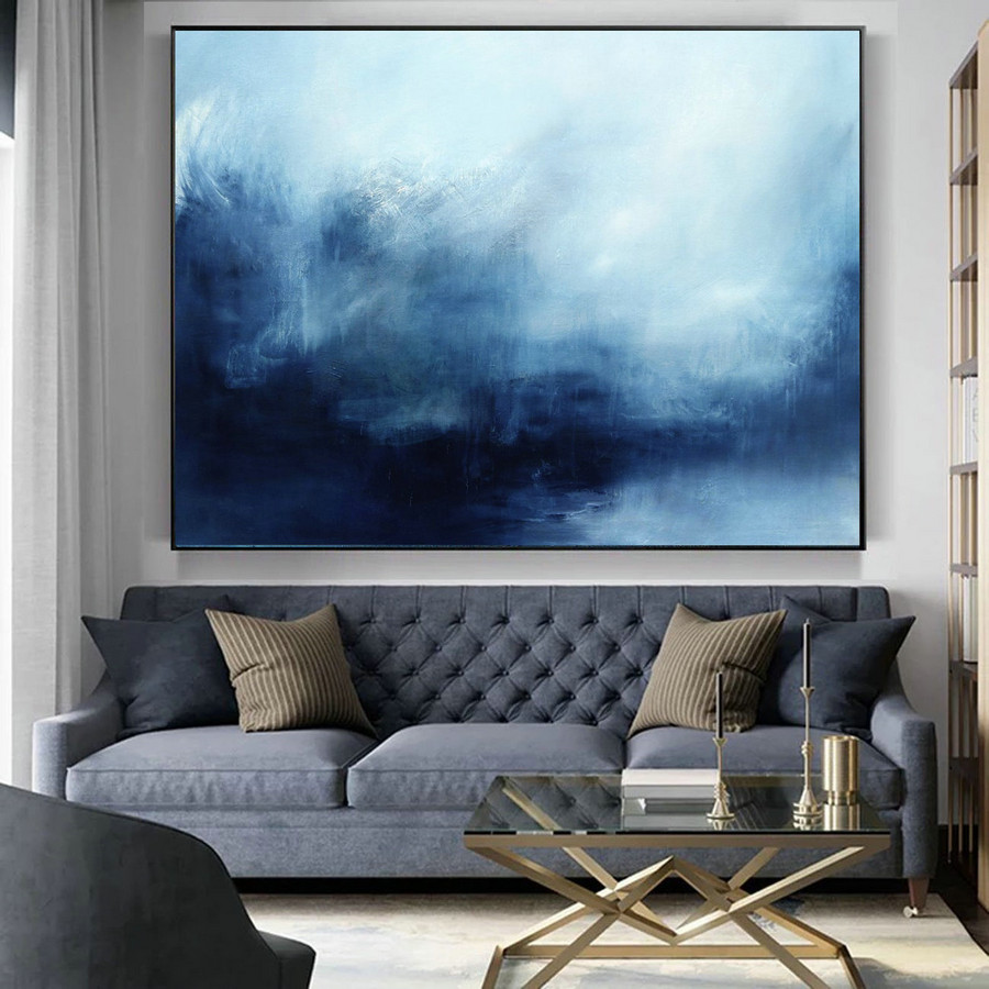 Original Sky Abstract Painting, Deep Blue Sea Landscape Painting, Large Wall Sea Painting, Abstract Landscape Painting, Sky And Sea Painting