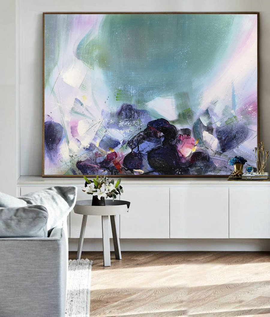 Original Landscape Abstract Painting,Green Abstract Art,Purple Abstract Oil Painting,Abstract Oil Painting,Large Wall Art Abstract Painting
