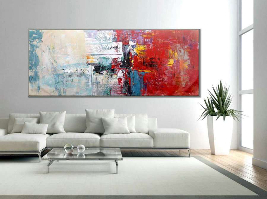 "Red White Abstract Painting Modern Art Wall Decor Painting 27x71""/70x180cm 72"" Large Painting 180cm XL"