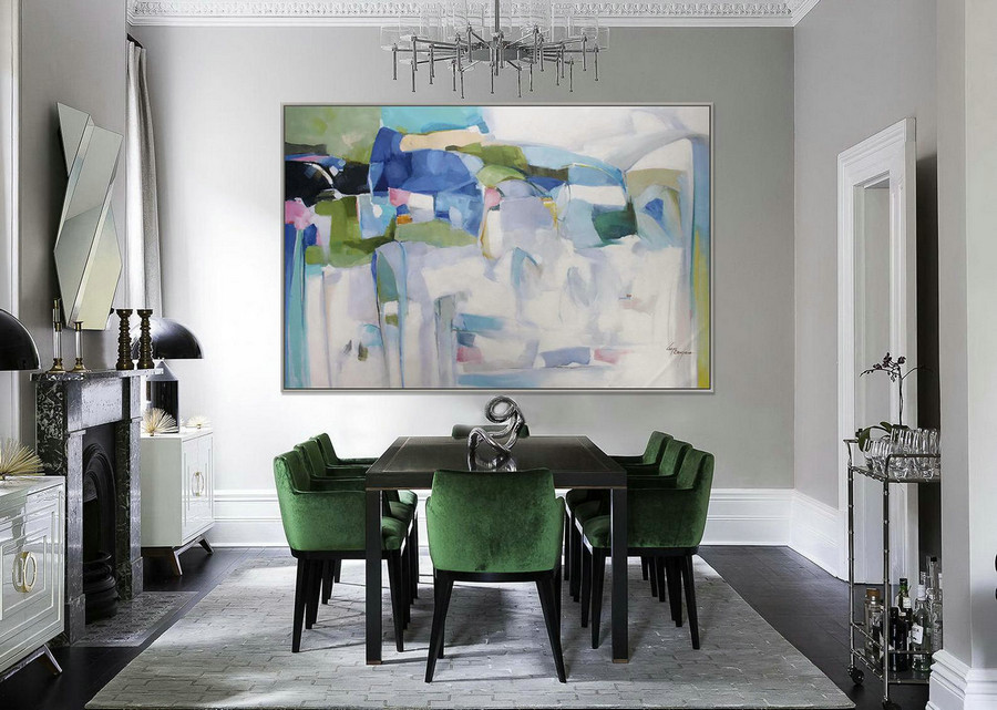 "Abstract Painting Modern Art Wall Decor Painting 48x72"" / 120x180cm Extra Large Painting XXL Huge Abstract Art Painting Green White"