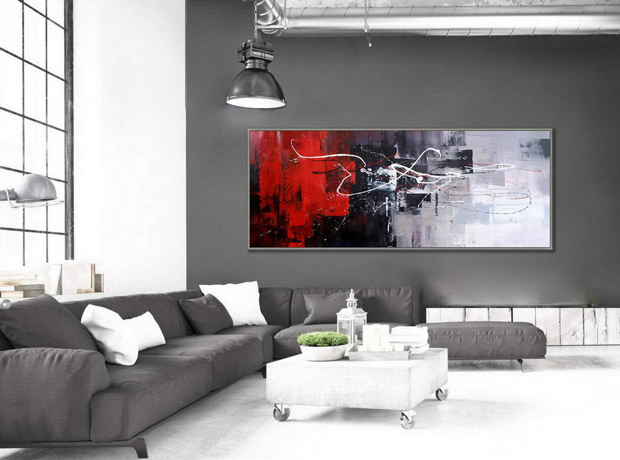 "Colorful Wall Art Painting Contemporary Panoramic Palette Knife Acrylic Painting Black White Red Modern Colorful Wall Art 27x72""/70x180cm"