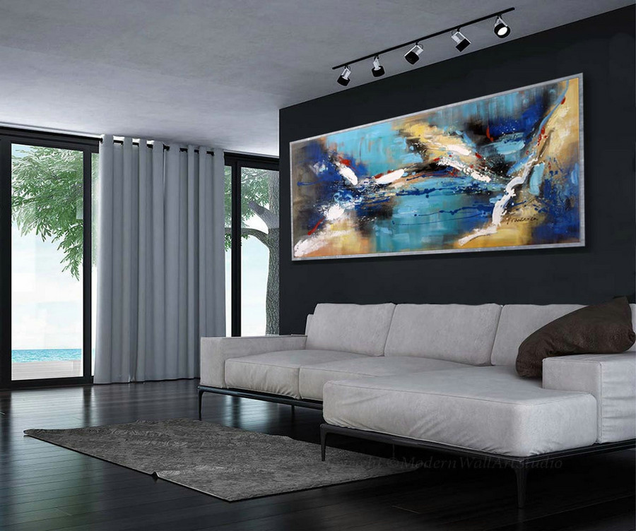 "Abstract Wall Art Modern Colorful Large Modern Art Panoramic Abstract Painting 27x72""/70x180cm"