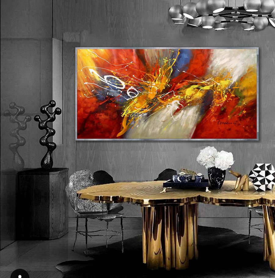 "Large Abstract Painting Original Contemporary Modern wall Art Hand-painted Horizontal Painting 36x72""/90x180cm"