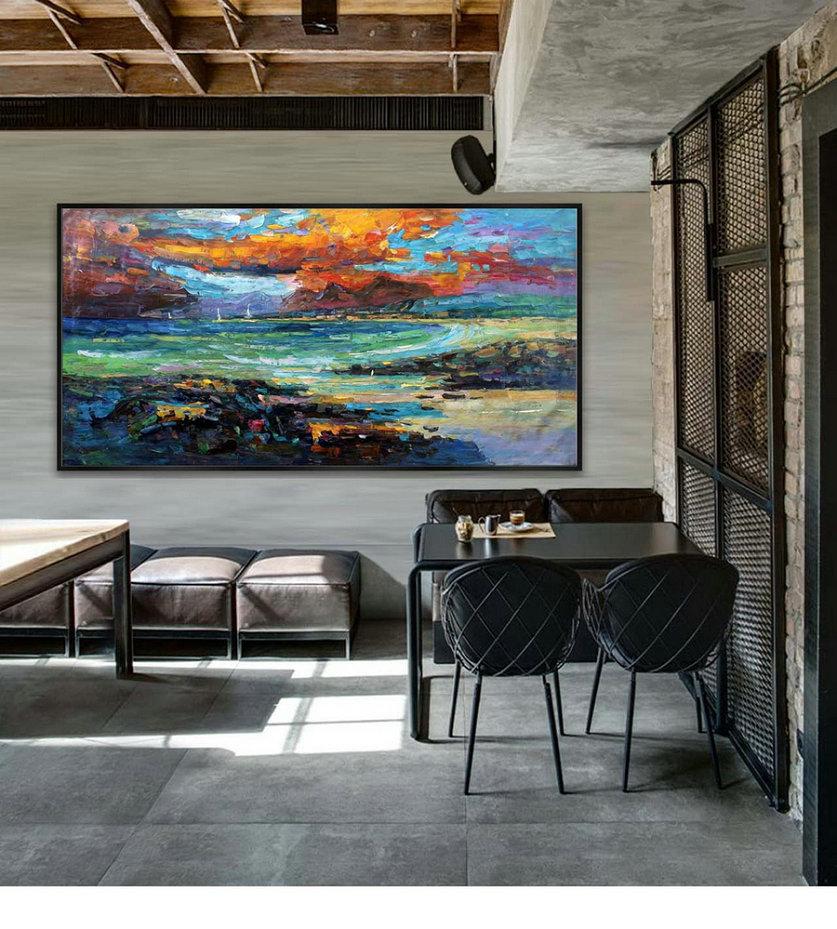 "Abstract Painting Contemporary Landscape Seascape Modern wall Art Hand-Made textured art painting 36x72""/90x180cm"