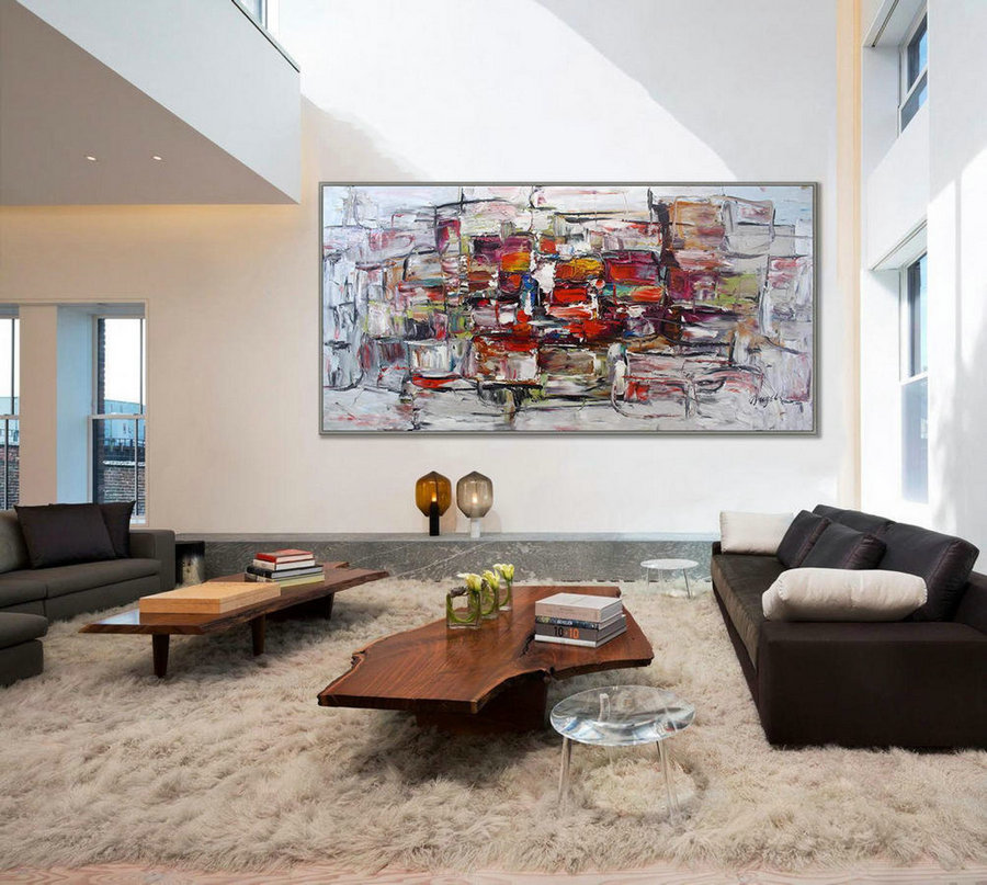 "Extra large modern abstract wall art, Texture Palette knife Original oil Painting on Canvas, Huge Oversize 48x96""/120x240cm"