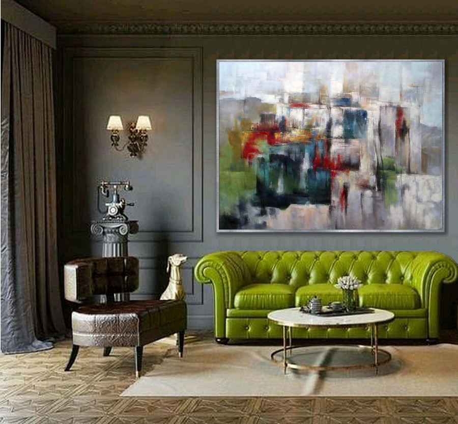 Colorful abstract wall Art Hand painted Modern painting Super Large Oversize Acrylic Canvas Art Office Wall Art