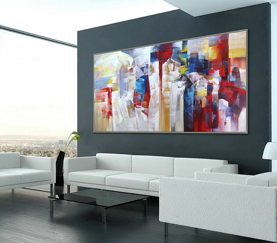 "Extra Large Colorful Modern Abstract Wall Art Painting 48x96""/120x240cm XXXL, XXL, XL"
